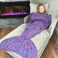 Mermaid Blanket Yarn Knitted Mermaid Tail Blanket Handmade Crochet Soft Home Sofa Sleeping Bag Adults Sleeping Throw costume