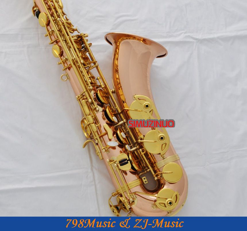 цена  Professional New Rose Brass Tenor Sax Bb Saxophone High F# Metal Mouth With Case  онлайн в 2017 году