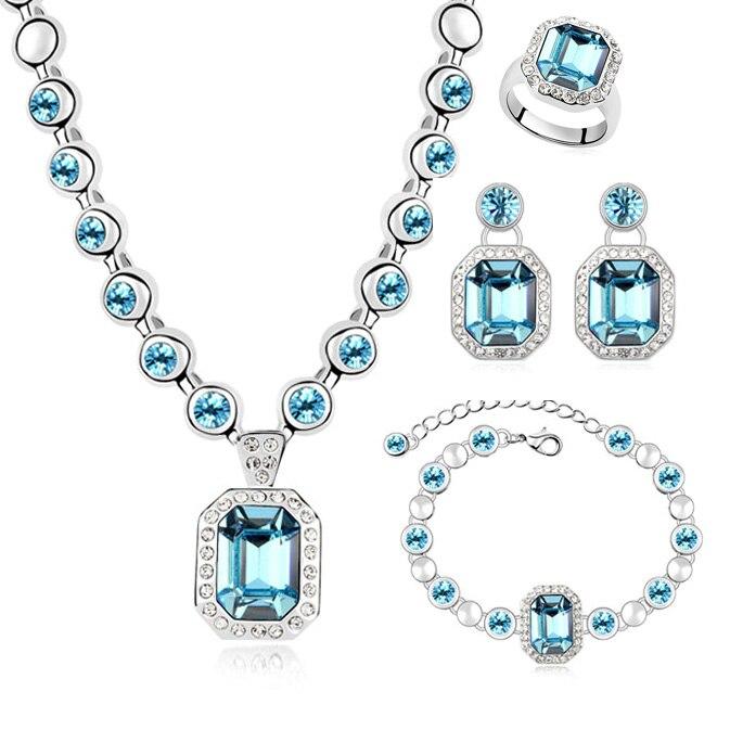Neue Heiße Set Echte Kristalle Von Swarovski Luxus Halskette Armband Ohrringe Ringe Schmuck Sets für Valentinstag Geschenk-in Brautschmuck Sets aus Schmuck und Accessoires bei  Gruppe 2
