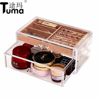 2018 New Simple And Transparent Acrylic Layer With Drawer Jewelry Boxes, Cosmetics Boxes Desktop Hot Selling