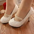 Handmade White lace Pearl Wedding Shoes White Bride Shoes Ladies High Heels bridesmaid shoes banquet dress shoes Women Pumps
