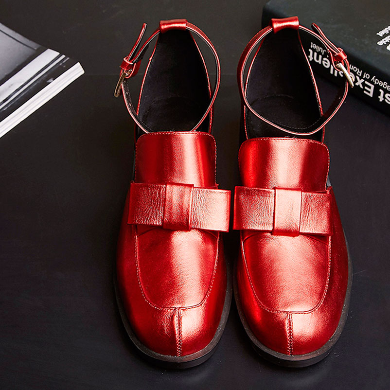 ФОТО 2016 Spring Women Famous Genuine Leather Shoes Mary Janes Ladies Shoes With Buckles Fashion Bowtie Woman Flat Shoes
