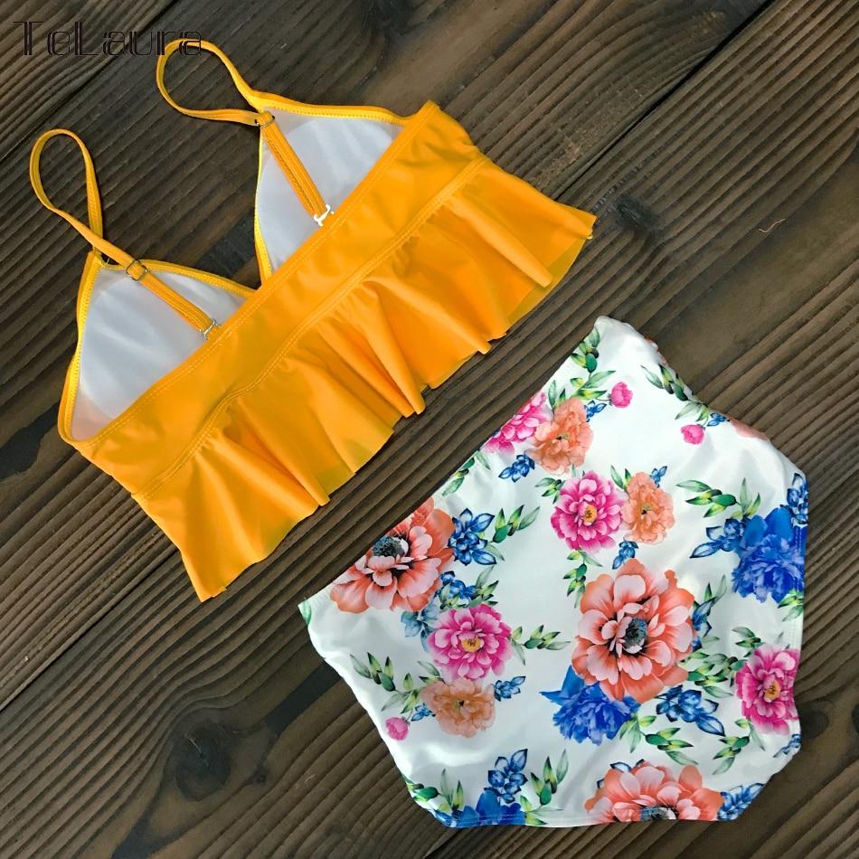 HTB1MHZLVwHqK1RjSZFPq6AwapXa0 2019 New Sexy High Waist Bikini Swimwear Women Swimsuit Push Up Ruffle Bathing Suit Biquini Plus Size Swimwear Female Beach Wear