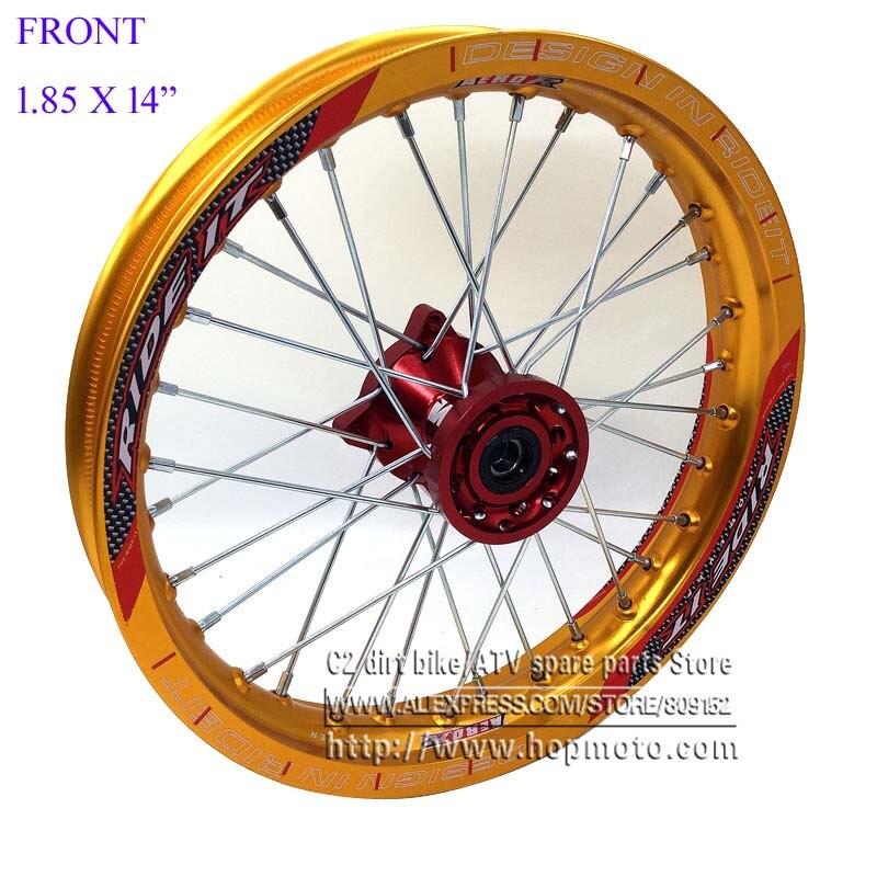 все цены на Front Rims 1.85 x 14inch Gold 6000 Aluminum Alloy Disc Plate Wheel Red CNC Hub 14