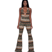 2017 Sexy Sleeveless Backless Jumpsuit Women Fashion Printed Flared Pants Europe And America Style Sexy Deep