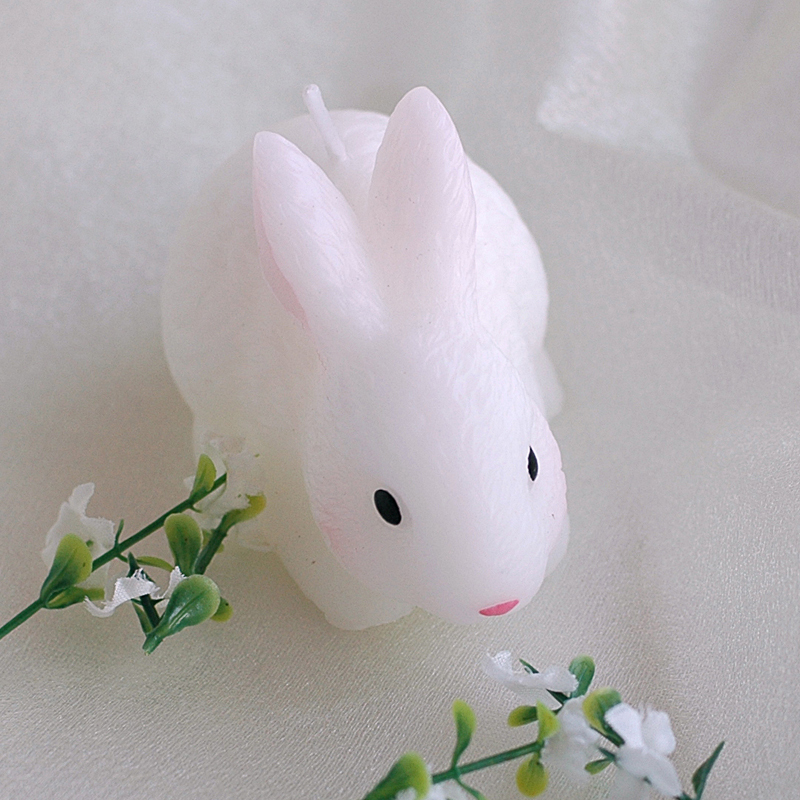 Kids cute bunny smokeless candle White birthday cake rabbit candle