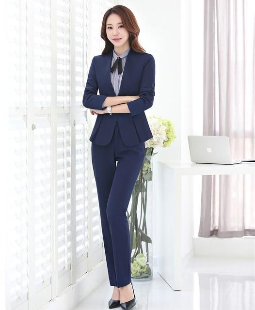 84ff514e242425 Formele donkerblauw Blazer Vrouwen Pakken Formele Office Suits Werkkleding  Broek en Jas Sets Dames Uniformen OL