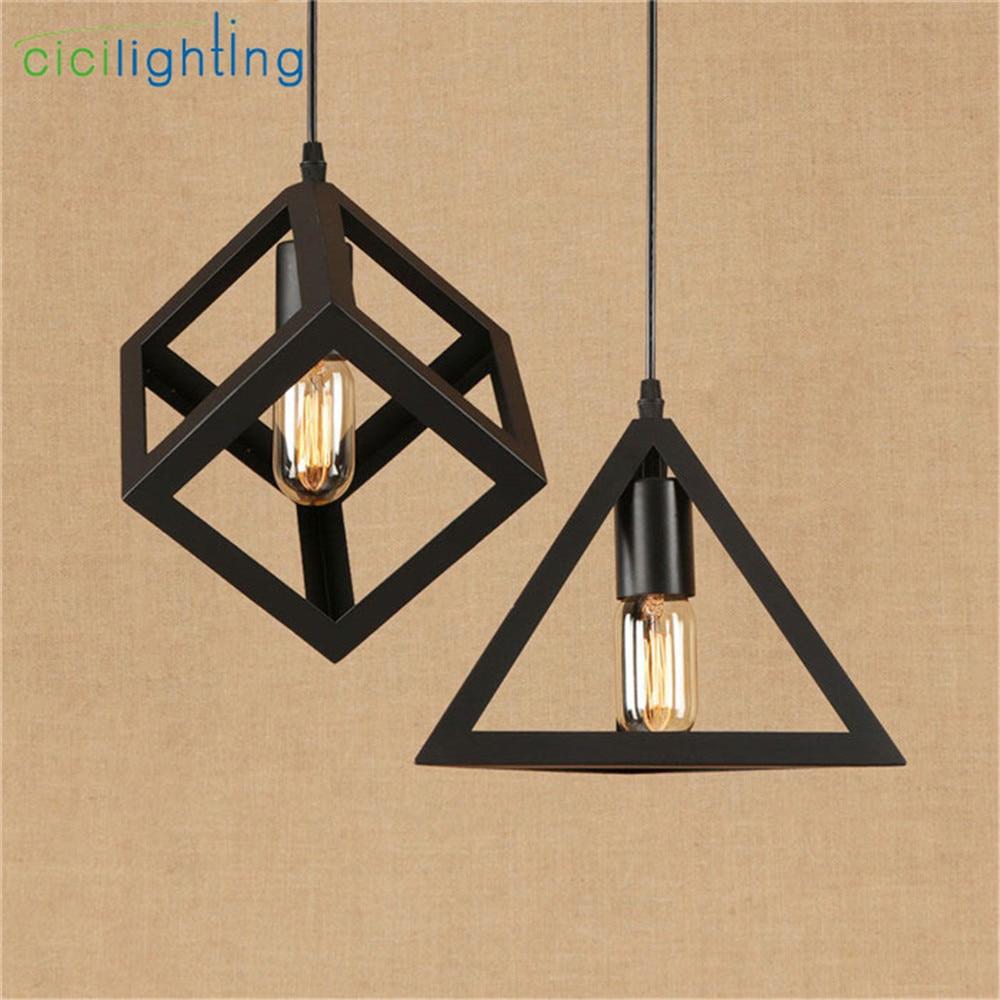 Vintage Black Cube Pyramid E27 Pendant Lamp American Style Luminaria Pendente Ceiling Hanging Lights Lampadari Cicilighting