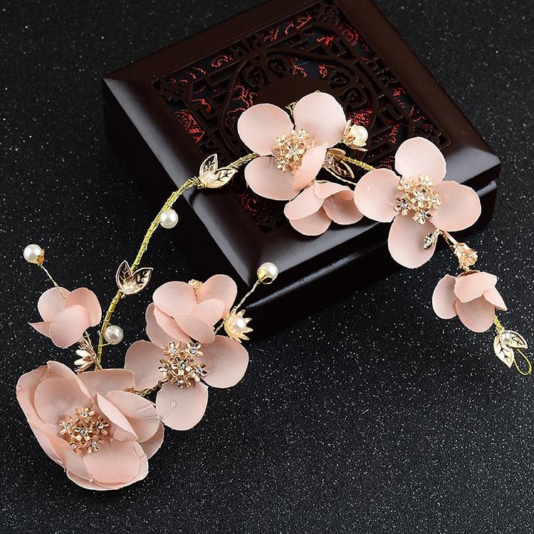 pink flower long style tiara novia bride hair ornament beautiful pink headdress adornos de noiva bride hair accessories