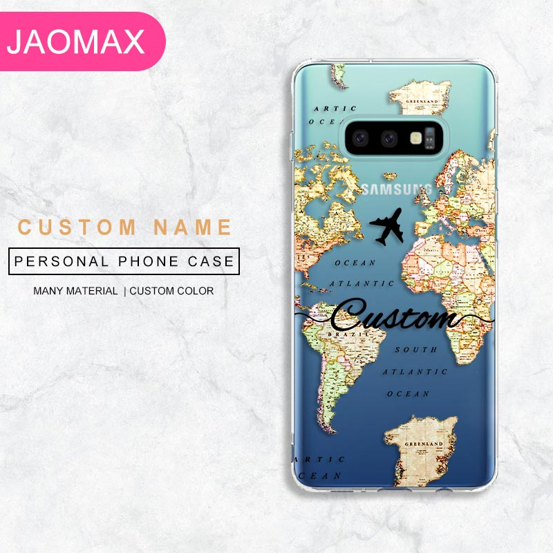 Jaomax Soft Black TPU Glass Custom World Map Phone Case For Samsung S10 Plus Lite A5 S9 S8 Plus S6 S7 Edge A8 Travel Plane Cover