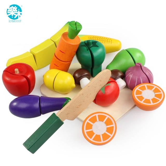 15pcs Set Wooden Kitchen Toys Cutting Fruit Vegetable Play