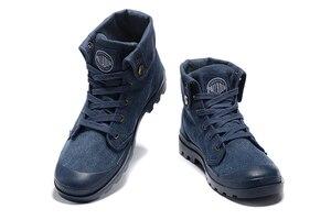 Image 4 - PALLADIUM Pallabrouse Zapatillas de tela vaquera para hombre, botines militares, informales, talla Europea 39 45, color azul