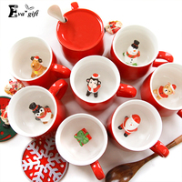 Nowy Boże Narodzenie Kreatywny Trójwymiarowy zwierząt w kubek Ceramiczny kubek 400 ml wody mleka kubek z łyżeczką filiżanka kawy prezent na nowy rok