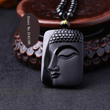 High Quality Unique Natural Black Obsidian Carved Buddha Lucky Amulet Pendant Necklace For Women Men pendants Fine Jade Jewelry