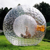 Free Shipping Giant Transparant Adult Inflatable Zorb Ball / Body Zorb Ball For Outdoor Grass Game 2.5m Diameter Free a Pump