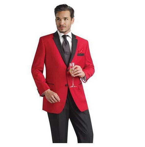 Custom Made Red Groom Tuxedos Black Notch Lapel Best Man Fraque do