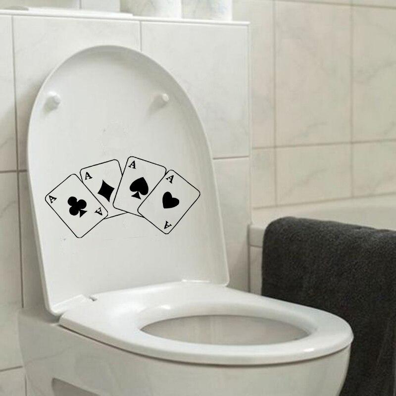 Четыре туза покер винил Наклейки на стену Туалет наклейки Домашний Декор 6ws0296