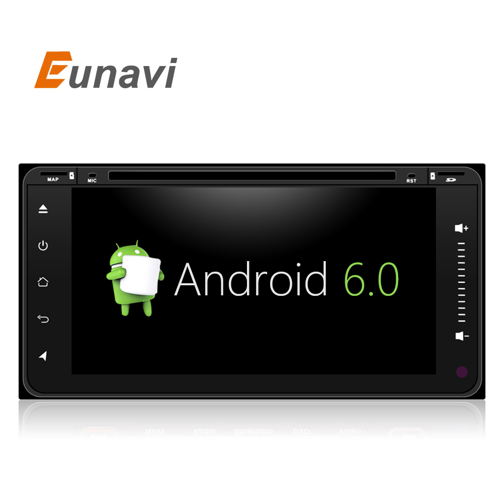 Eunavi Android 6 0 Quad 4 Core car dvd player for Toyota Hilux VIOS Old Camry