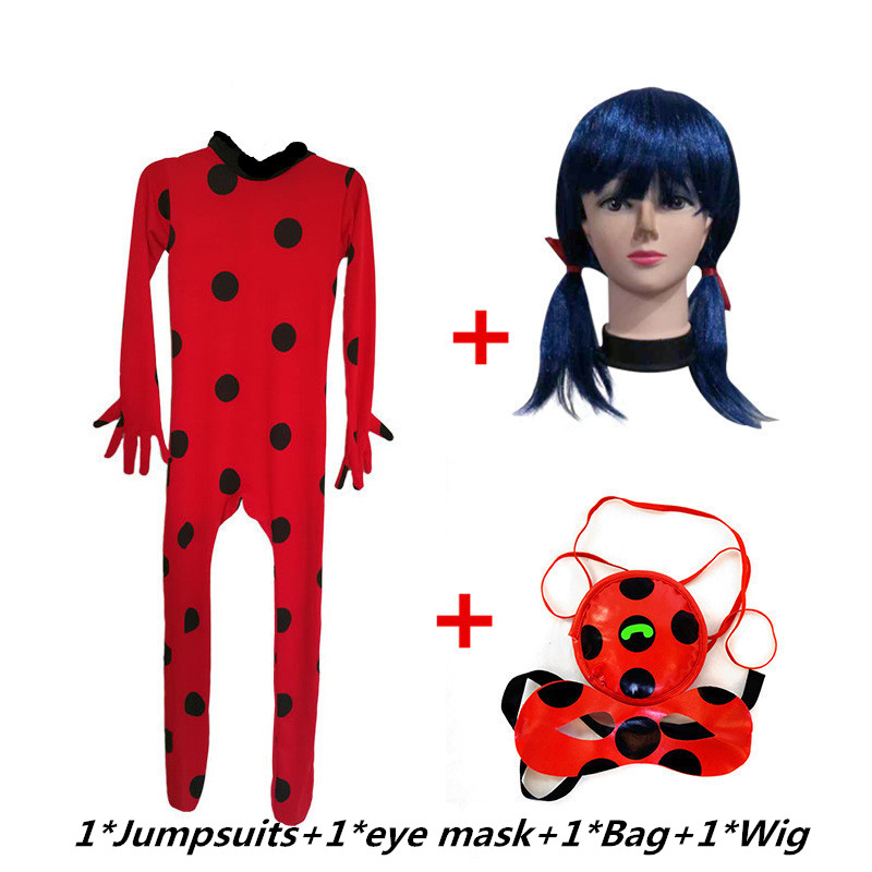 New Fancy Lady Bug Halloween Cosplay Costume  Girls Women Children Spandex Ladybug With Bag Wig Eye Mask for Kids Adult Suit