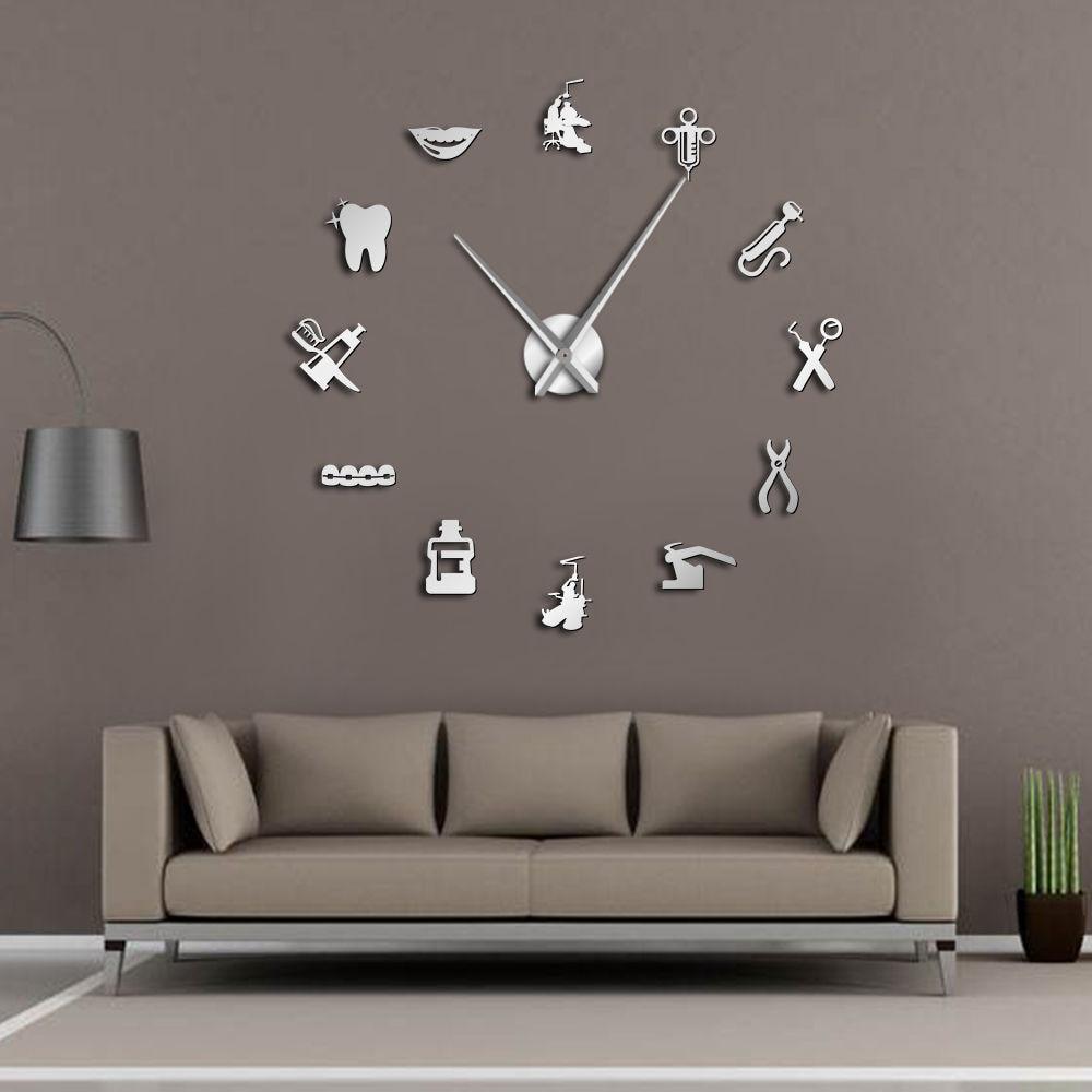 Dentist DIY Giant Wall Clock Dental Doctor Oversized Wall Clock Big Needle Mirror Dentist Office Decor Dentist Gift Doctor Art(China)