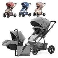 Роскошные зрения для четырех колесах бег Детские коляски 3 в 1 путешествия Системы новорожденных Коляски спальный люльки несколько коляска