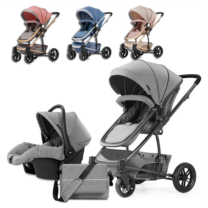Luxury High View Baby Four Wheels Jogging Baby Stroller 3 In 1 Travel System Newborn Pram Sleeping Bassinet Multiple StrollerLuxury High View Baby Four Wheels Jogging Baby Stroller 3 In 1 Travel System Newborn Pram Sleeping Bassinet Multiple Stroller