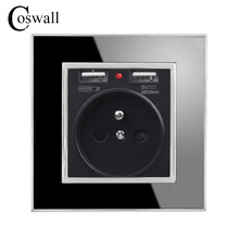 Coswall Black Dual USB Charging Port 5V 2.1A Wall Charger Adapter LED Indicator 16A French Power Socket Acrylic Crystal Panel()