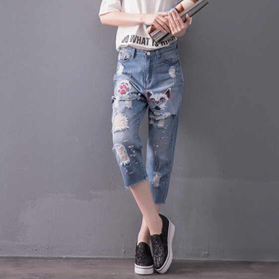 2017 Fat MM new spring summer Cowboy calf lenghth pants Korean Style Casual Holes plus size