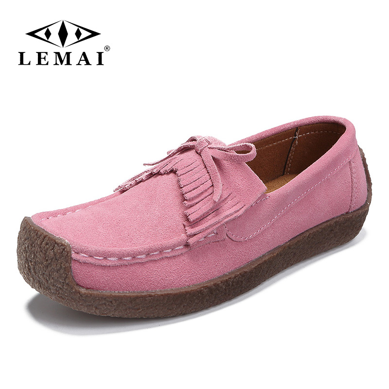 LEMAI 2019 Autumn Moccasins Flats Women Shoes   Leather     Suede   Slip On Shoes Woman Ballet Flats Ladies Shoes Oxfords for Women
