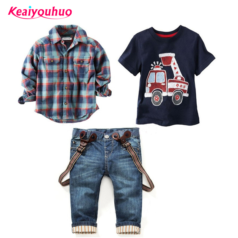 цена на new 2018 Autumn Children Clothing Gentleman Plaid kids boys clothing sets t-Shirt +Suspender Trousers 3 pcs boys clothes suits