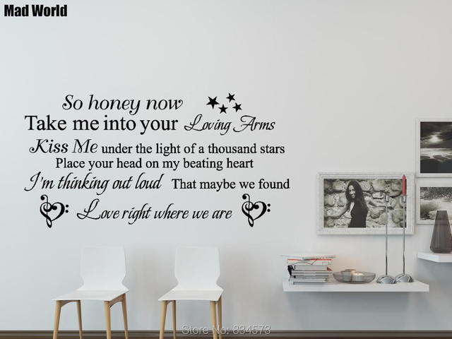 Mad world thinking out loud song lyrics quote wall art stickers wall decal home decoration