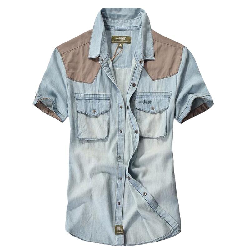 قميص الرجل عالية الجودة قميص الدنيم عارضة العلامة التجارية 100 ٪ من القطن الصيف قصيرة الأكمام قميص الرجال camisa الغمد قميص رعاة البقر