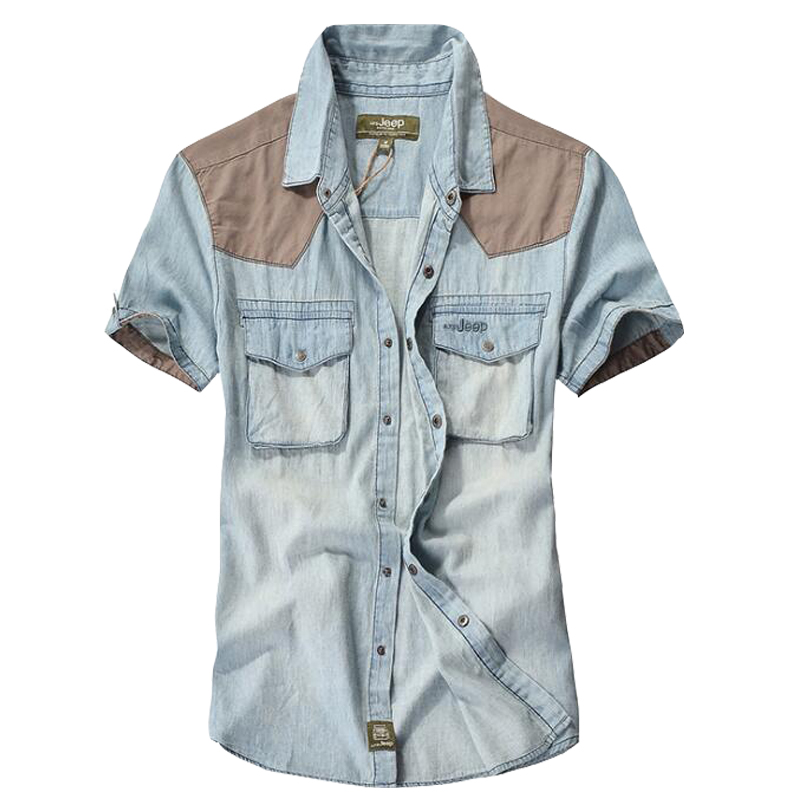 Férfi ing magas minőségű alkalmi farmer ing Márka 100% pamut nyári rövid ujjú ing férfi camisa masculina cowboy ing