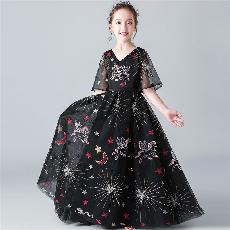 Children Girls Luxury Black Color Evening Party Piano Costume Long Prom Dress Teens Kids Model Show T-stage Costume Mesh Dress glitter bling mixed color striped ballet mesh sleeveless new arrival costume toddler girls show performance dancing dress