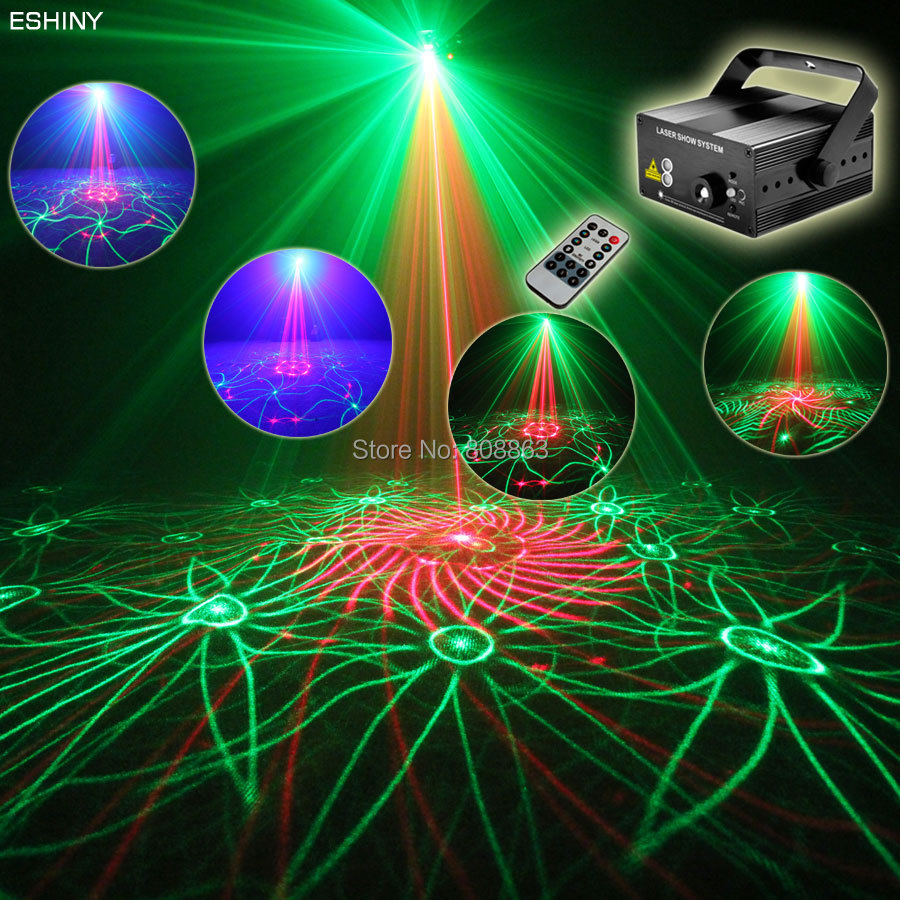 ESHINY Mini Blue Led R&G Laser 24 Patterns Projector DJ Equipment Club Disco Bar Xmas Light Dance Party Stage Lights show 75b178 3 lens 36 patterns rg blue mini led stage laser lighting professinal dj light red gree blue