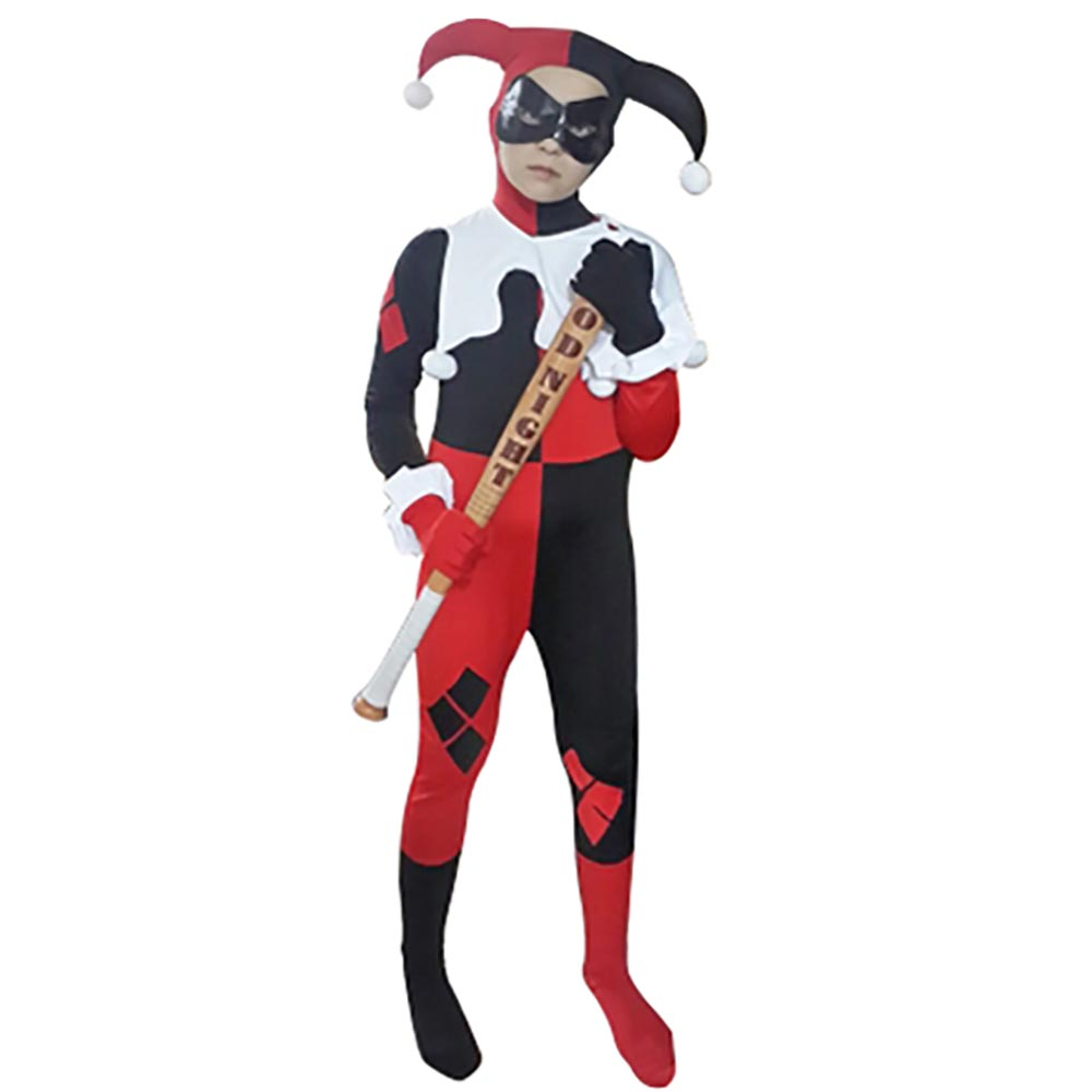 Kids Harley Quinn Costume Joker Girl Cosplay Full Bodysuit Arkham City Superhero Costumes Halloween Fancy Dress for Children