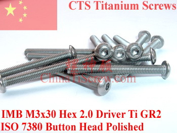 Titanium screw M3x30 ISO 7380 Button Head  Hex 2.0 Driver Ti GR2 Polished 50 pcs 50pcs lot iso7380 m3 x 6 pure titanium button head hex socket screw