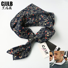 Мужской шарф, хит, хип-хоп повязка на голову, визуальные оси, Мужская велосипедная бандана, модный принт, темно-синий цвет, цветочный принт, хлопковая квадратная бандана, 60*60 см