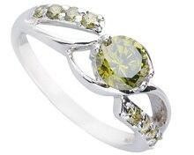 Posh Olivine Peridot  5*5mm Semi-precious Stone Silver Cool For Women Ring Q1459