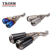 TKOSM Laser Marking Motorcycle Exhaust Full Stystem Middle Pipe With Muffler Silencer For DUCATI SCRAMBLER Slip