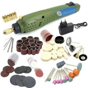 Mini herramienta rotativa eléctrica taladro eléctrico + Accesorios de molienda Set para dremel Kit de herramientas eléctricas para máquina de grabado-enchufe de la UE