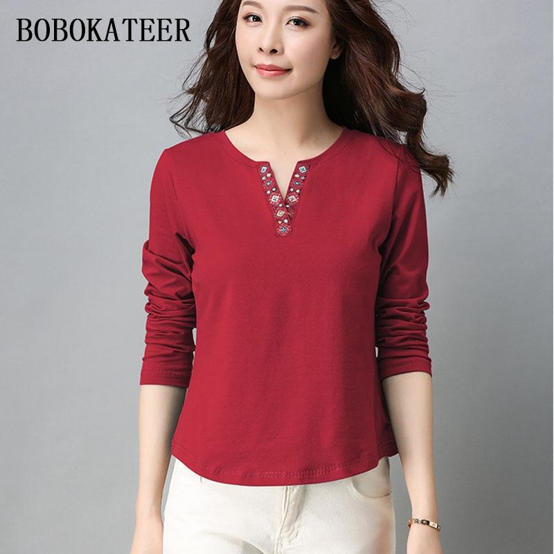 BOBOKATEER Long Sleeve Top Women Tops Cotton T Shirt Women T Shirt Casual Tee Shirt Femme Summer Plus Size Camisetas Mujer 2019