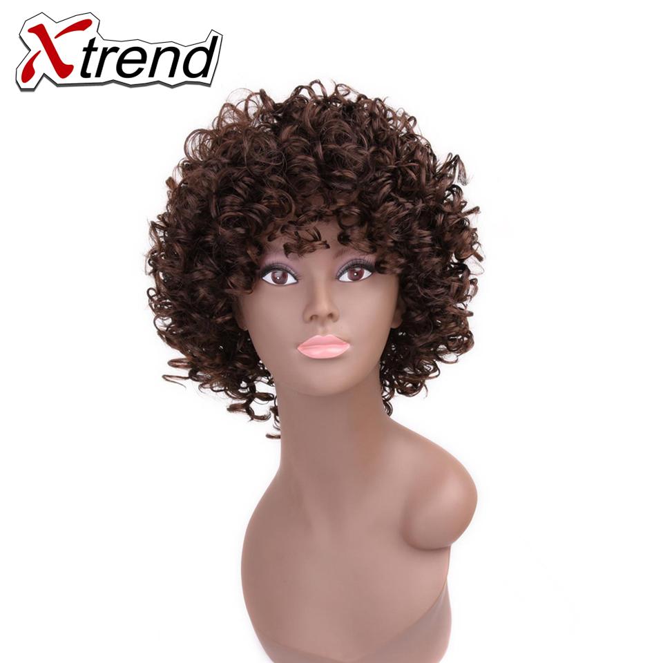 xtrend afro rizado pelucas de pelo sinttico para las mujeres cosplay corto corte peinado ninguno peluca