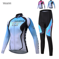 TELEYI Pro Team Women Cycling Jersey Ropa Ciclismo Suit Bicycle Girls Jersey Set Bike Long Sleeve