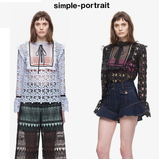 1b6a43da27d21 US $22.11 34% OFF|Self Portrait high quality 2019 self Portrait women's  fashion runway lace blouse white blue hollow out blouses women tops-in  Blouses ...