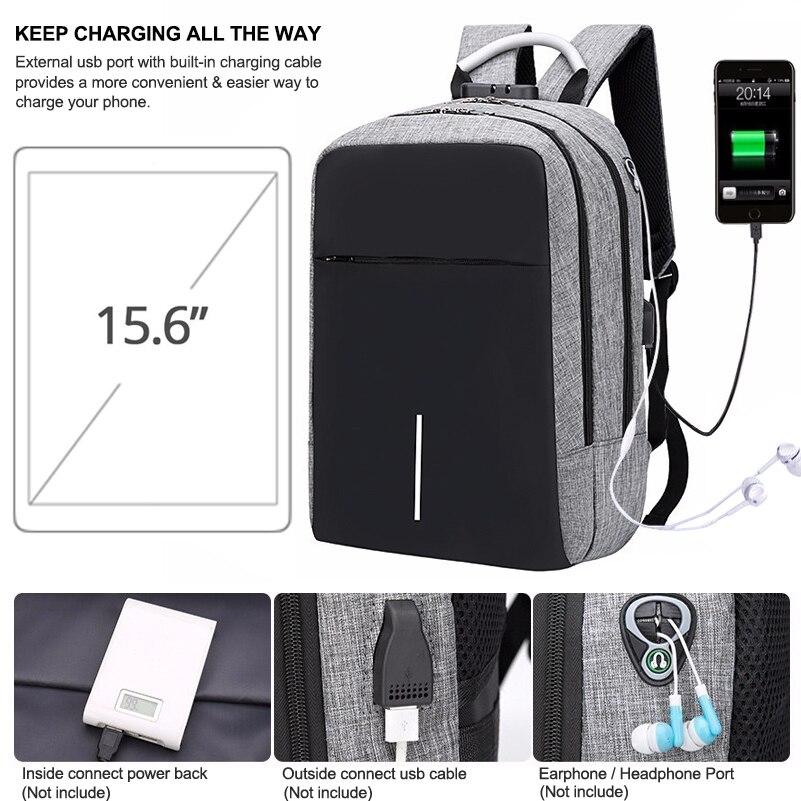 Sac à dos pour ordinateur portable hommes sac Anti-vol sac à dos de voyage sac à dos homme USB chargeur Port écouteur Port école sacs à dos pour ordinateur portable serrure - 5
