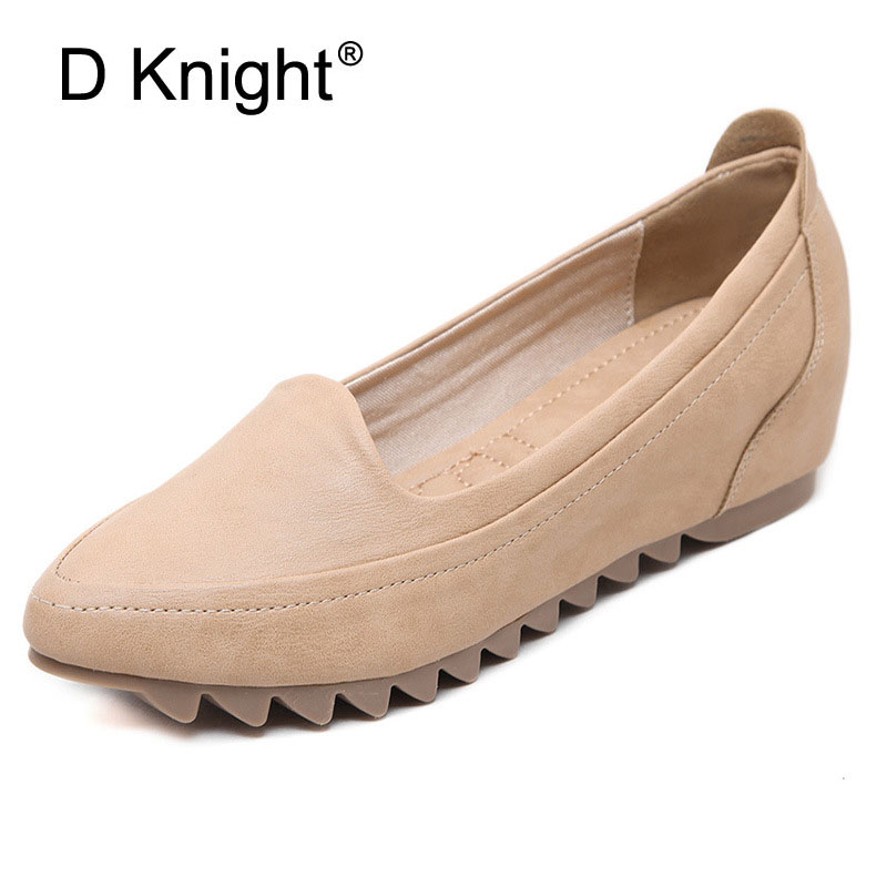Ladies Casual Pointed Toe Slip-on Height Increasing Flats Plain Solid Shallow Mouth Women Loafers Flats For Women Big Size 31-42 2017 summer new fashion sexy lace ladies flats shoes womens pointed toe shallow flats shoes black slip on casual loafers t033109