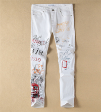 Fashion New  Vintage Colorful Painting Print Denim Trousers White Slim Jeans