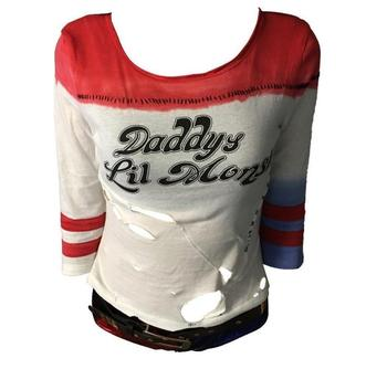 Suicide Squad Harley Quinn Cosplay Costume T-shirt  1