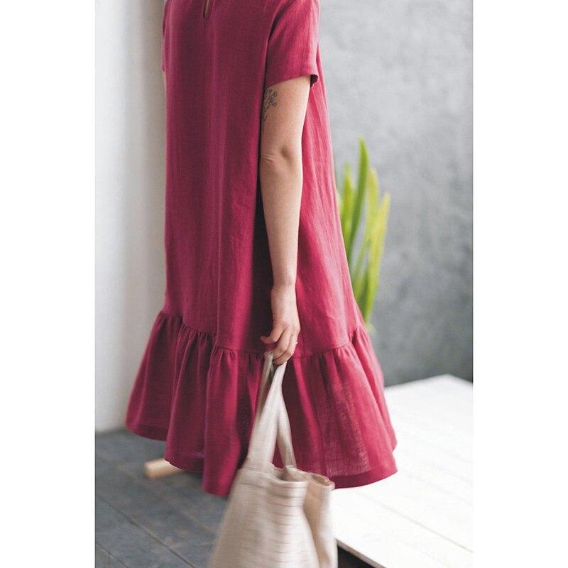 LinenAll originele vrouwen 100% linnen korte mouwen Franse vrouwen jurk met O hals EEN losse comfortabele koele jurk gewaad - 6
